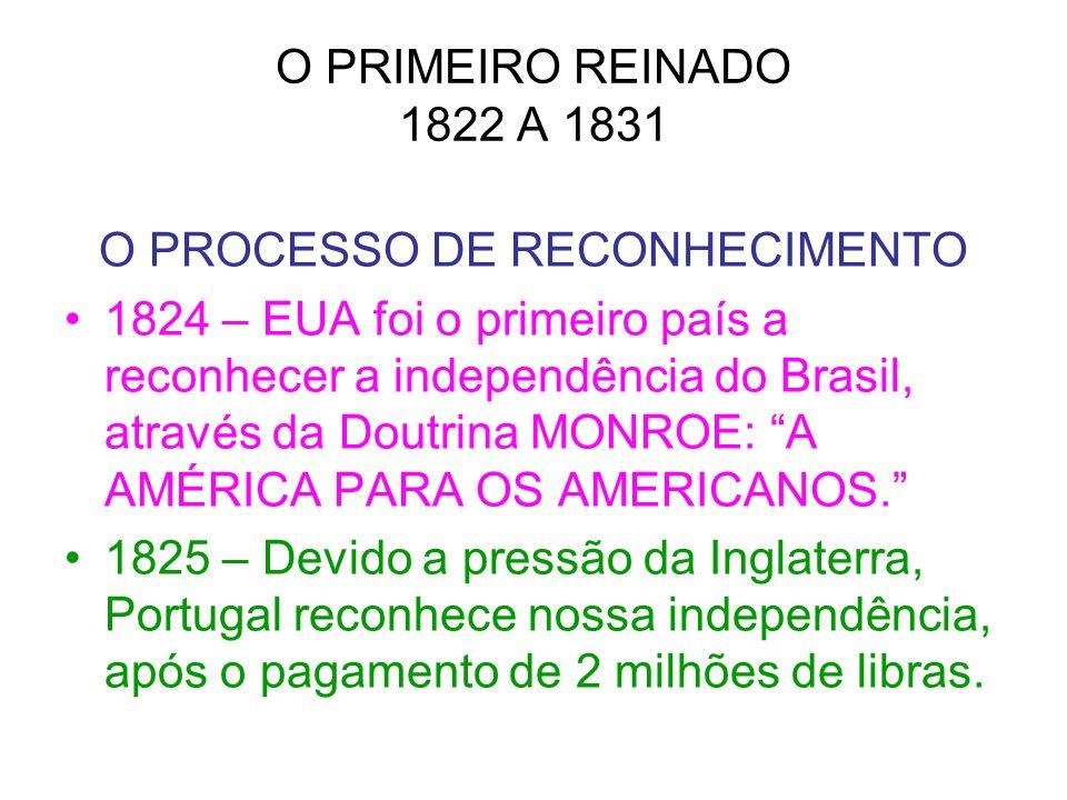 O PRIMEIRO REINADO 1822 A 1831 O PROCESSO DE RECONHECIMENTO 1824 – EUA foi o primeiro país a reconhecer a independência do Brasil, através da Doutrina