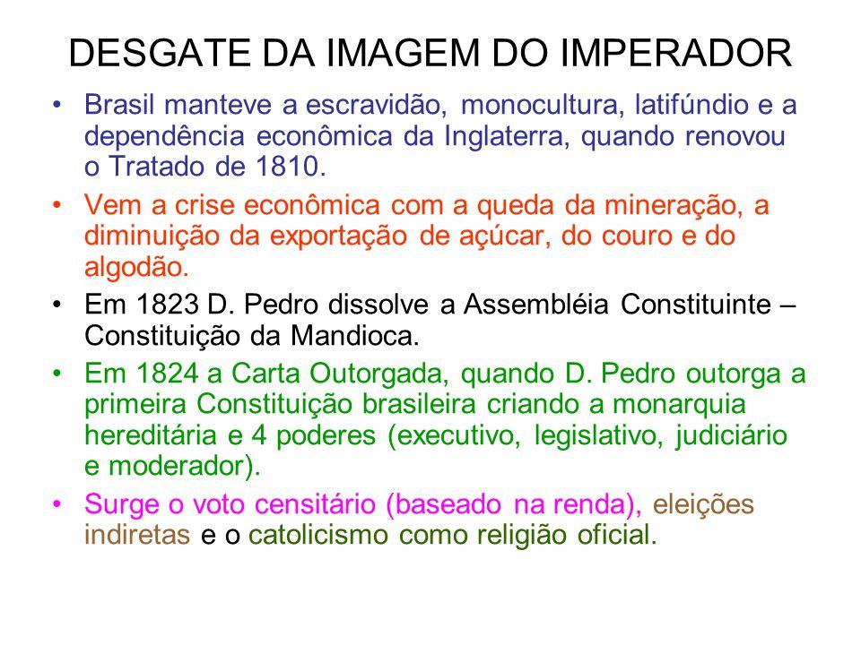 DESGATE DA IMAGEM DO IMPERADOR Brasil manteve a escravidão, monocultura, latifúndio e a dependência econômica da Inglaterra, quando renovou o Tratado