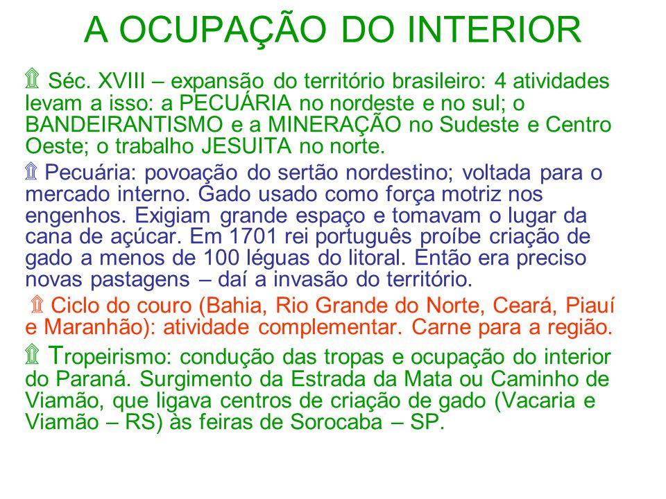 A OCUPAÇÃO DO INTERIOR ۩ Séc.