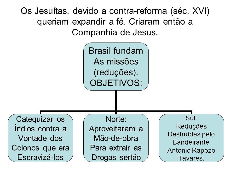 Os Jesuítas, devido a contra-reforma (séc.XVI) queriam expandir a fé.