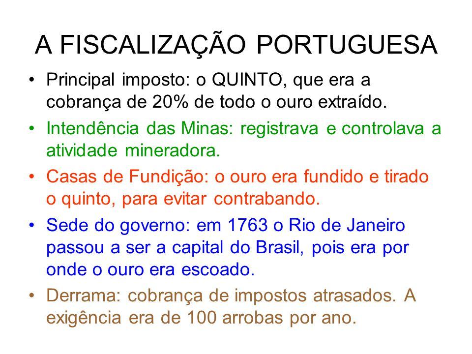 A FISCALIZAÇÃO PORTUGUESA Principal imposto: o QUINTO, que era a cobrança de 20% de todo o ouro extraído.