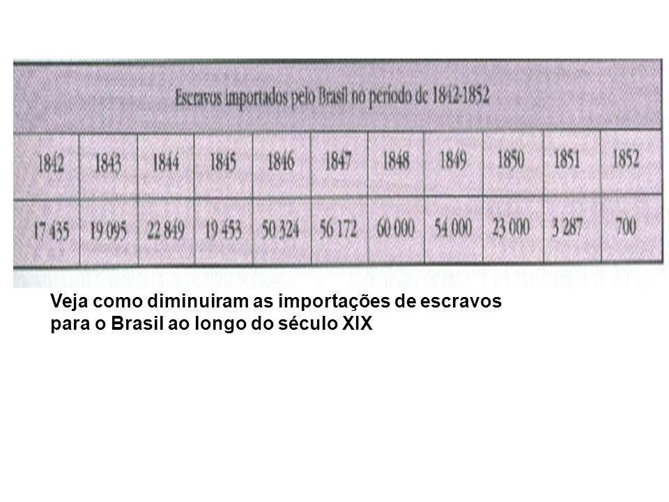 Veja como diminuiram as importações de escravos para o Brasil ao longo do século XIX