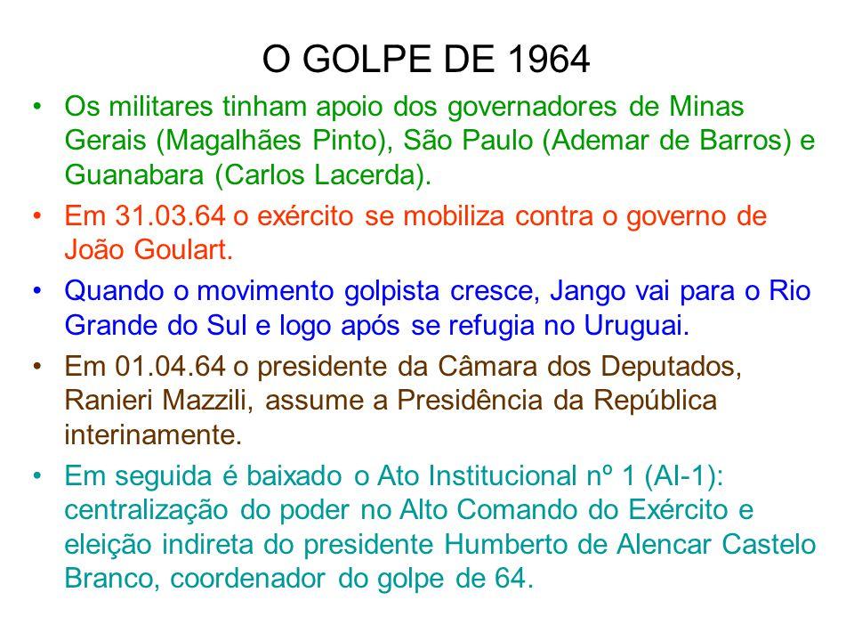 O GOLPE DE 1964 Os militares tinham apoio dos governadores de Minas Gerais (Magalhães Pinto), São Paulo (Ademar de Barros) e Guanabara (Carlos Lacerda
