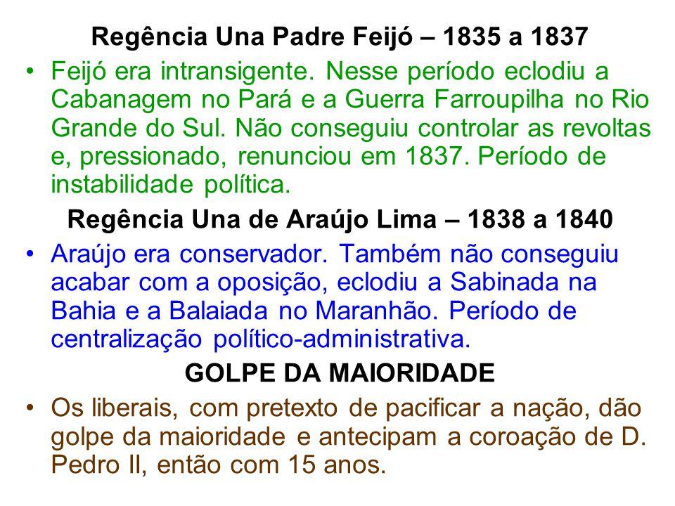 Regência Una Padre Feijó – 1835 a 1837 Feijó era intransigente. Nesse período eclodiu a Cabanagem no Pará e a Guerra Farroupilha no Rio Grande do Sul.