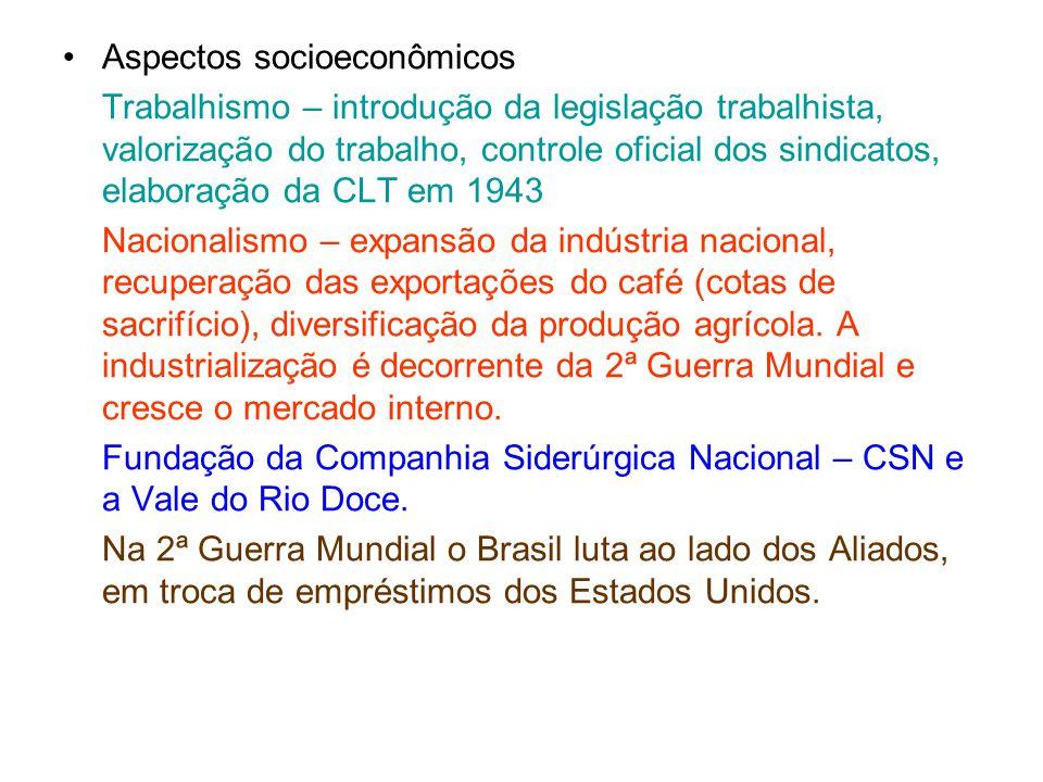Aspectos socioeconômicos Trabalhismo – introdução da legislação trabalhista, valorização do trabalho, controle oficial dos sindicatos, elaboração da C