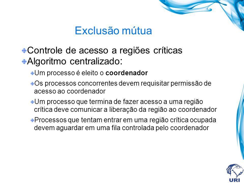 Exclusão mútua Controle de acesso a regiões críticas Algoritmo centralizado : Um processo é eleito o coordenador Os processos concorrentes devem requi
