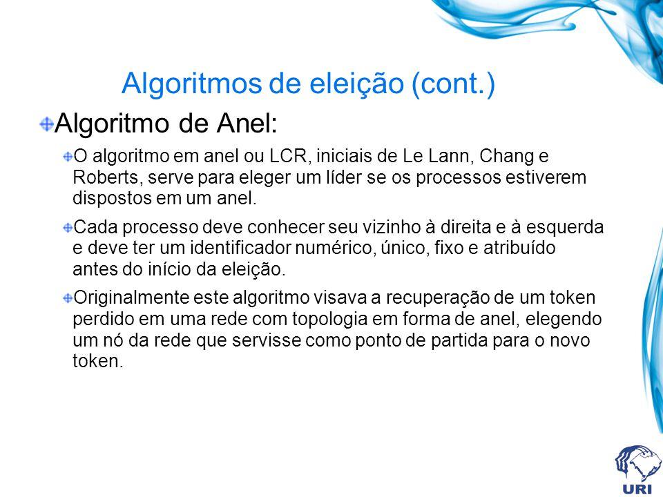 Algoritmos de eleição (cont.) Algoritmo de Anel: O algoritmo em anel ou LCR, iniciais de Le Lann, Chang e Roberts, serve para eleger um líder se os pr