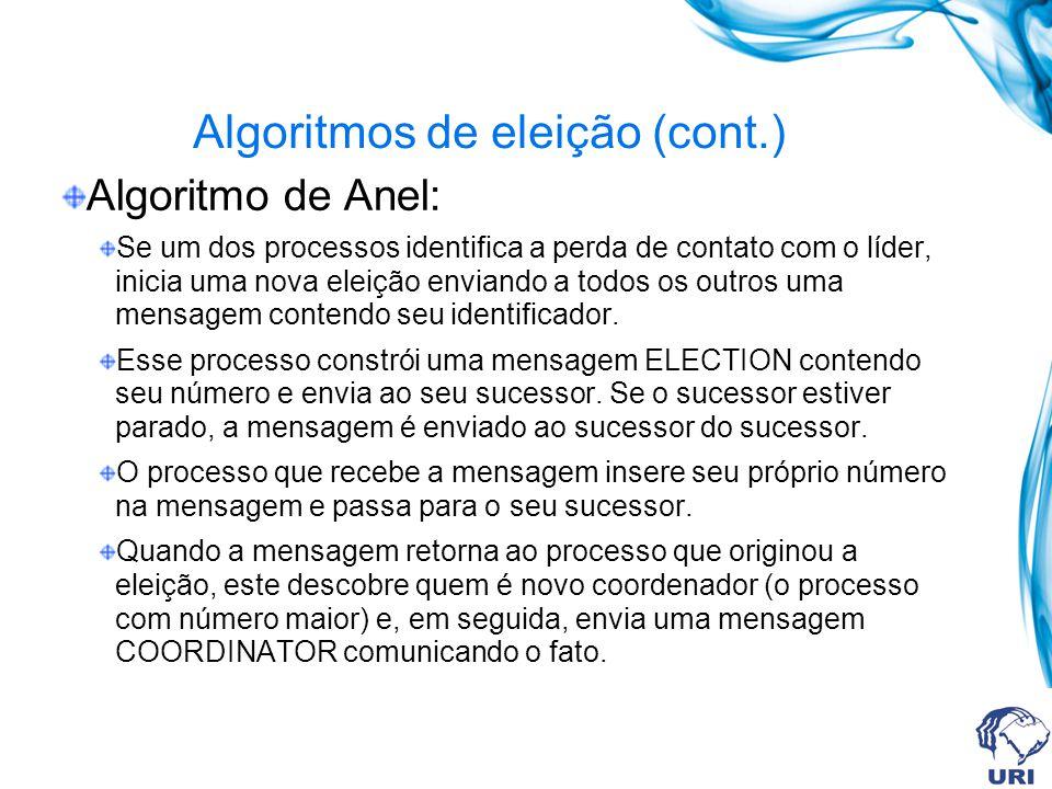 Algoritmos de eleição (cont.) Algoritmo de Anel: Se um dos processos identifica a perda de contato com o líder, inicia uma nova eleição enviando a tod