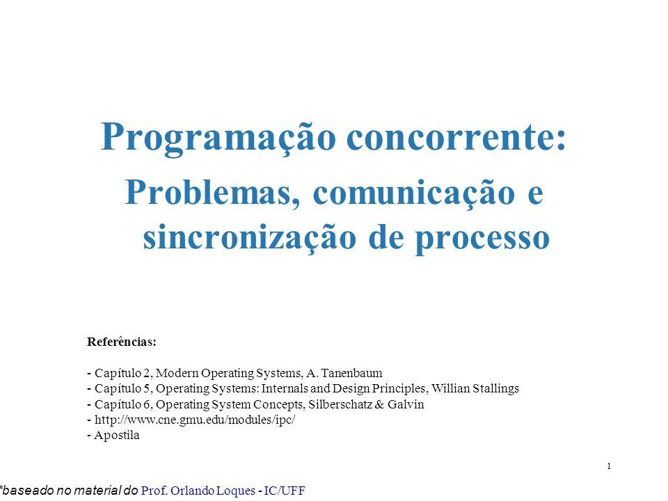 1 Programação concorrente: Problemas, comunicação e sincronização de processo *baseado no material do Prof. Orlando Loques - IC/UFF Referências: - Cap