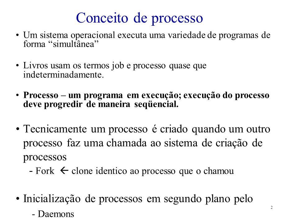 2 Um sistema operacional executa uma variedade de programas de forma simultânea Livros usam os termos job e processo quase que indeterminadamente. Pro