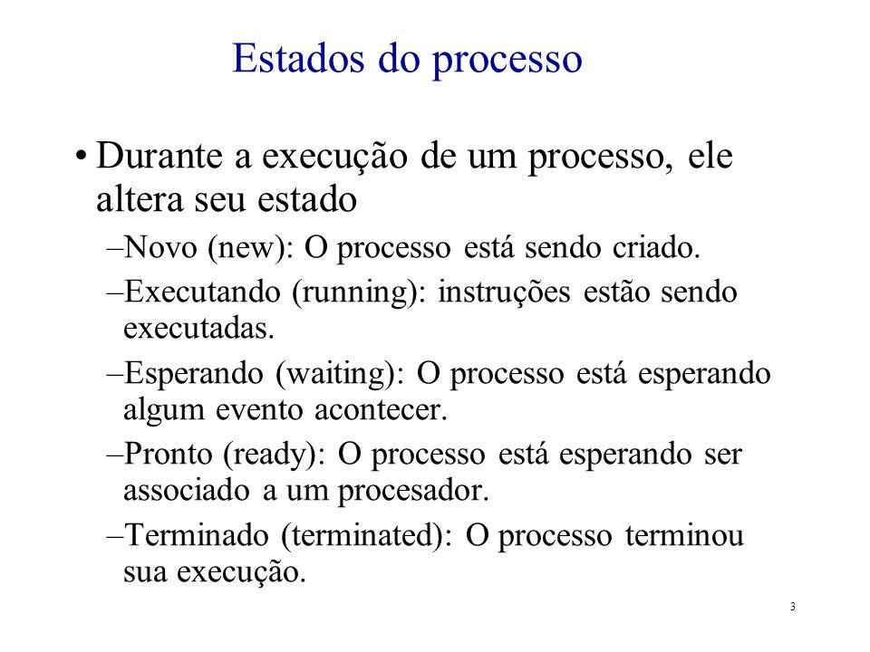 3 Durante a execução de um processo, ele altera seu estado –Novo (new): O processo está sendo criado. –Executando (running): instruções estão sendo ex