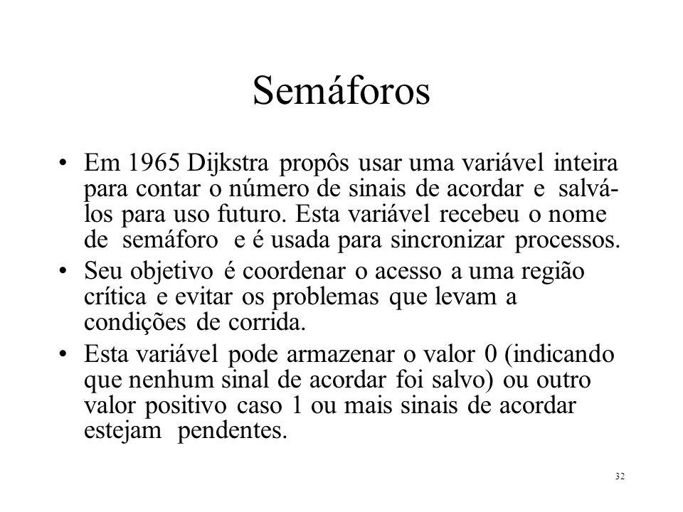 32 Semáforos Em 1965 Dijkstra propôs usar uma variável inteira para contar o número de sinais de acordar e salvá- los para uso futuro. Esta variável r