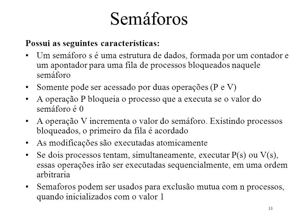 33 Semáforos Possui as seguintes características: Um semáforo s é uma estrutura de dados, formada por um contador e um apontador para uma fila de proc