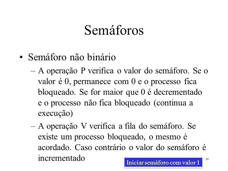 Semáforos Semáforo não binário –A operação P verifica o valor do semáforo. Se o valor é 0, permanece com 0 e o processo fica bloqueado. Se for maior q