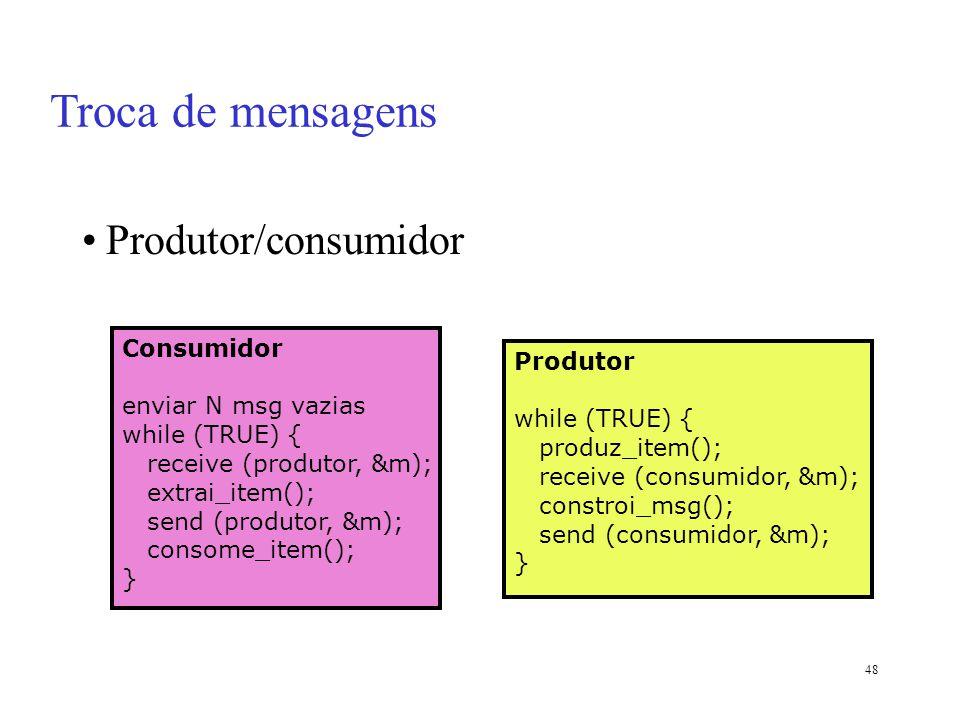 48 Produtor/consumidor Consumidor enviar N msg vazias while (TRUE) { receive (produtor, &m); extrai_item(); send (produtor, &m); consome_item(); } Pro