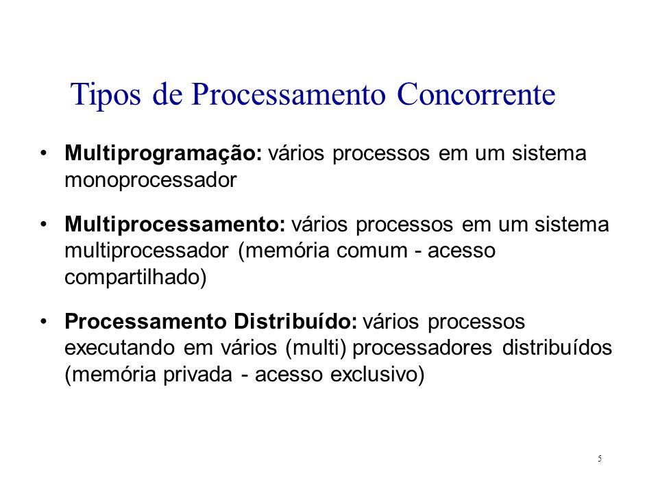 5 Tipos de Processamento Concorrente Multiprogramação: vários processos em um sistema monoprocessador Multiprocessamento: vários processos em um siste
