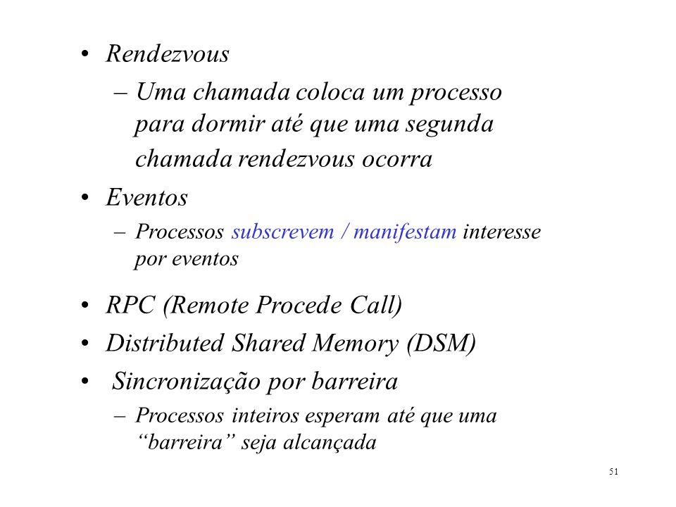 51 Rendezvous –Uma chamada coloca um processo para dormir até que uma segunda chamada rendezvous ocorra Eventos –Processos subscrevem / manifestam int