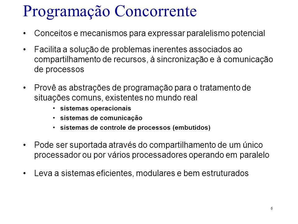 6 Programação Concorrente Conceitos e mecanismos para expressar paralelismo potencial Facilita a solução de problemas inerentes associados ao comparti