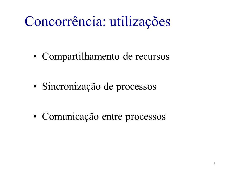 7 Concorrência: utilizações Compartilhamento de recursos Sincronização de processos Comunicação entre processos