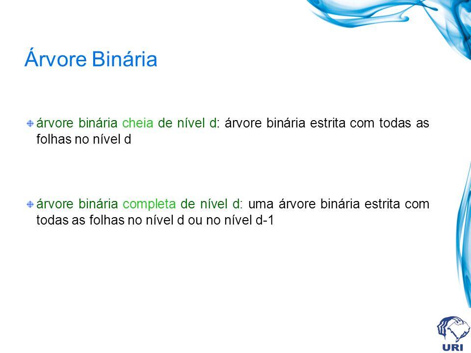 Árvore Binária árvore binária cheia de nível d: árvore binária estrita com todas as folhas no nível d árvore binária completa de nível d: uma árvore b