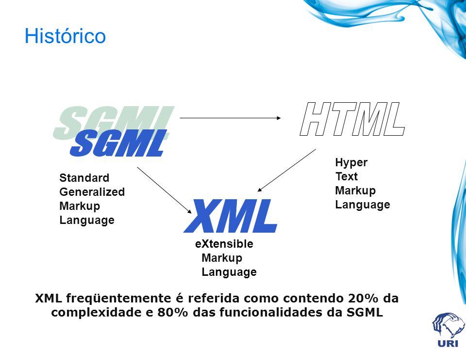 Histórico XML freqüentemente é referida como contendo 20% da complexidade e 80% das funcionalidades da SGML Standard Generalized Markup Language Hyper