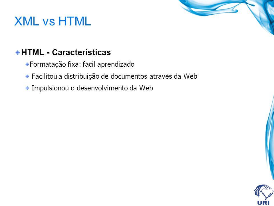 XML vs HTML HTML - Características Formata ç ão fixa: f á cil aprendizado Facilitou a distribui ç ão de documentos atrav é s da Web Impulsionou o dese