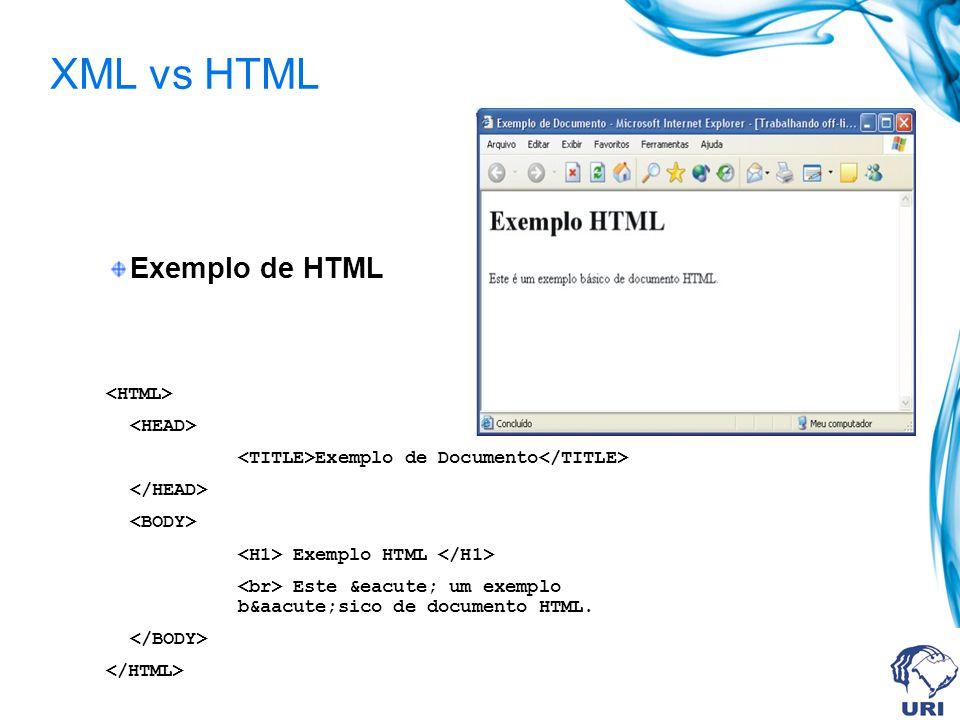 XML vs HTML Exemplo de HTML Exemplo de Documento Exemplo HTML Este é um exemplo básico de documento HTML.