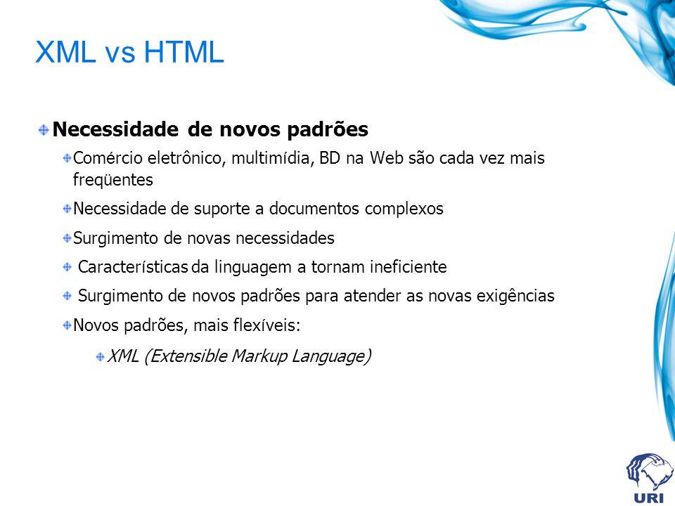 XML vs HTML Necessidade de novos padrões Com é rcio eletrônico, multim í dia, BD na Web são cada vez mais freq ü entes Necessidade de suporte a docume