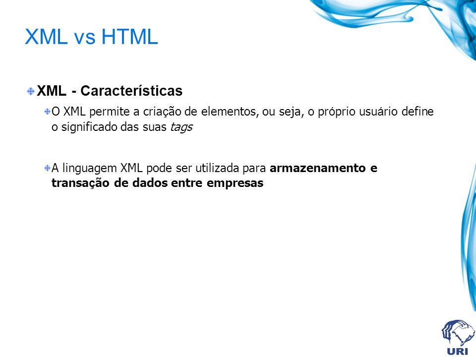XML vs HTML XML - Características O XML permite a cria ç ão de elementos, ou seja, o pr ó prio usu á rio define o significado das suas tags A linguage