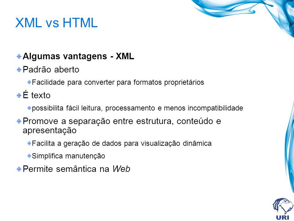 XML vs HTML Algumas vantagens - XML Padrão aberto Facilidade para converter para formatos proprietários É texto possibilita fácil leitura, processamen