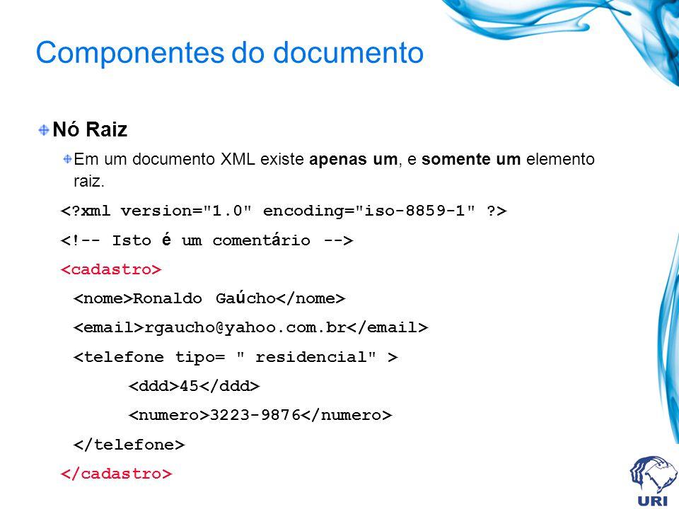 Componentes do documento Nó Raiz Em um documento XML existe apenas um, e somente um elemento raiz. Ronaldo Ga ú cho rgaucho@yahoo.com.br 45 3223-9876