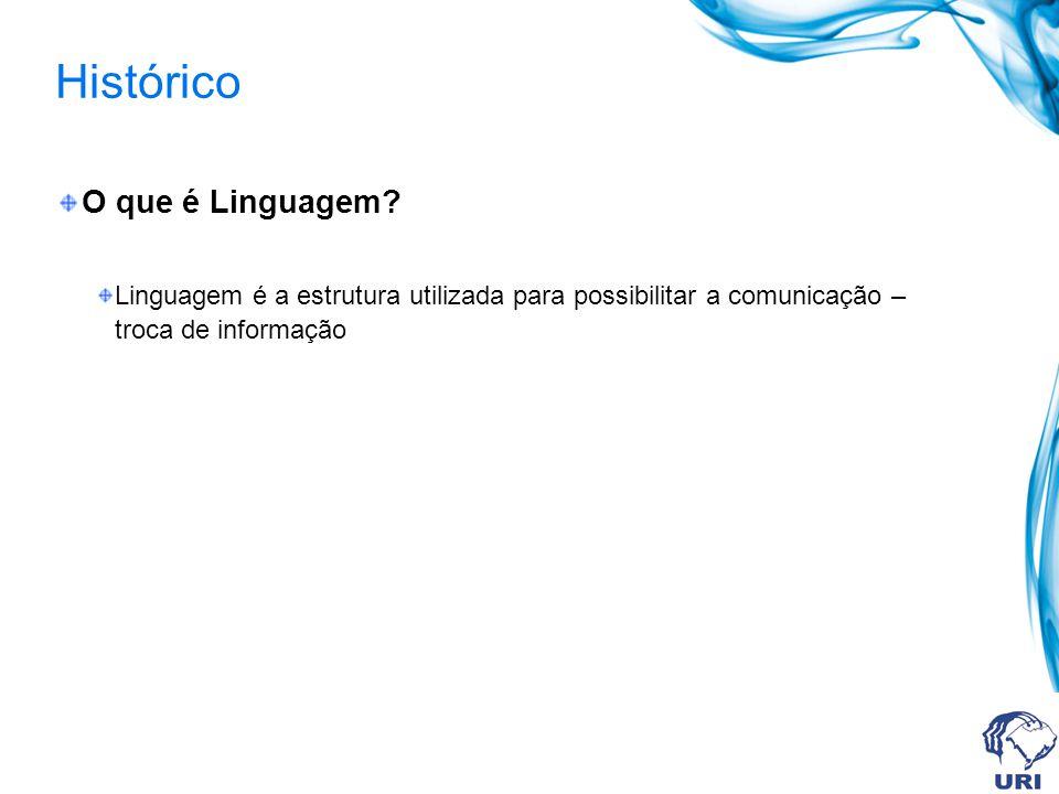 Histórico O que é Linguagem? Linguagem é a estrutura utilizada para possibilitar a comunicação – troca de informação