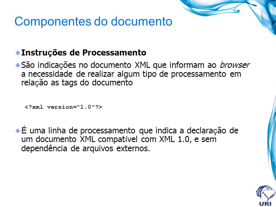 Componentes do documento Instru ç ões de Processamento São indica ç ões no documento XML que informam ao browser a necessidade de realizar algum tipo