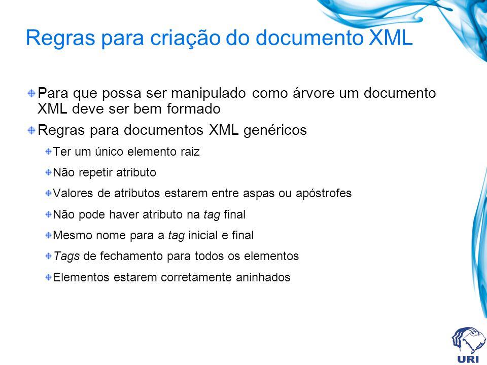 Regras para criação do documento XML Para que possa ser manipulado como árvore um documento XML deve ser bem formado Regras para documentos XML genéri