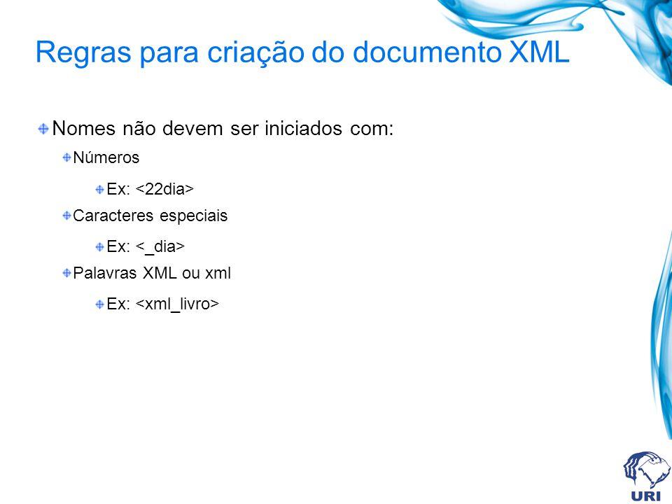 Regras para criação do documento XML Nomes não devem ser iniciados com: Números Ex: Caracteres especiais Ex: Palavras XML ou xml Ex: