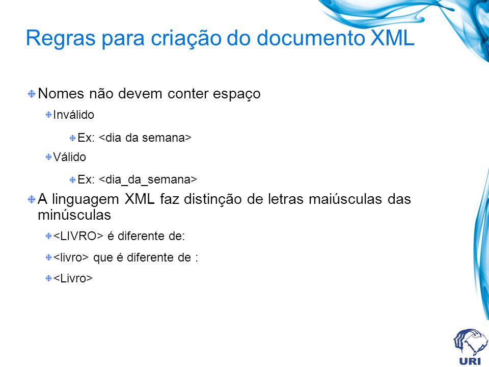 Regras para criação do documento XML Nomes não devem conter espaço Inválido Ex: Válido Ex: A linguagem XML faz distinção de letras maiúsculas das minú