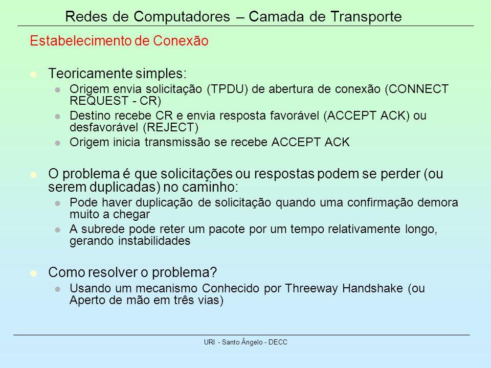 Redes de Computadores – Camada de Transporte URI - Santo Ângelo - DECC Estabelecimento de Conexão Teoricamente simples: Origem envia solicitação (TPDU