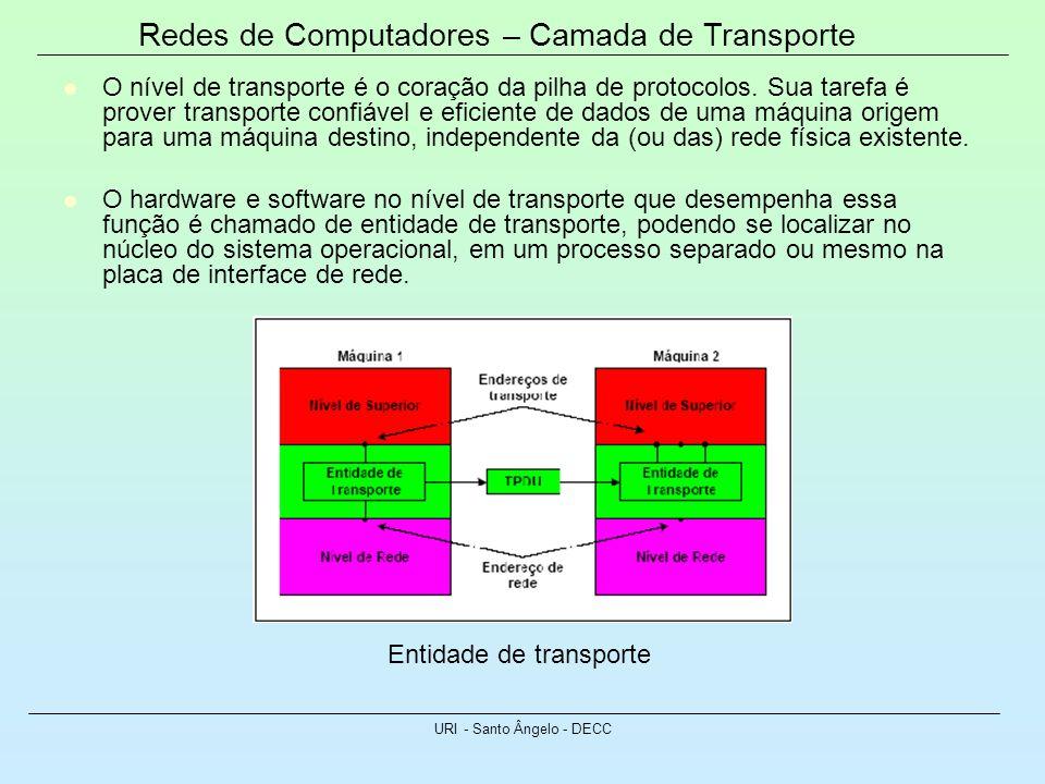 Redes de Computadores – Camada de Transporte URI - Santo Ângelo - DECC O nível de transporte é o coração da pilha de protocolos. Sua tarefa é prover t