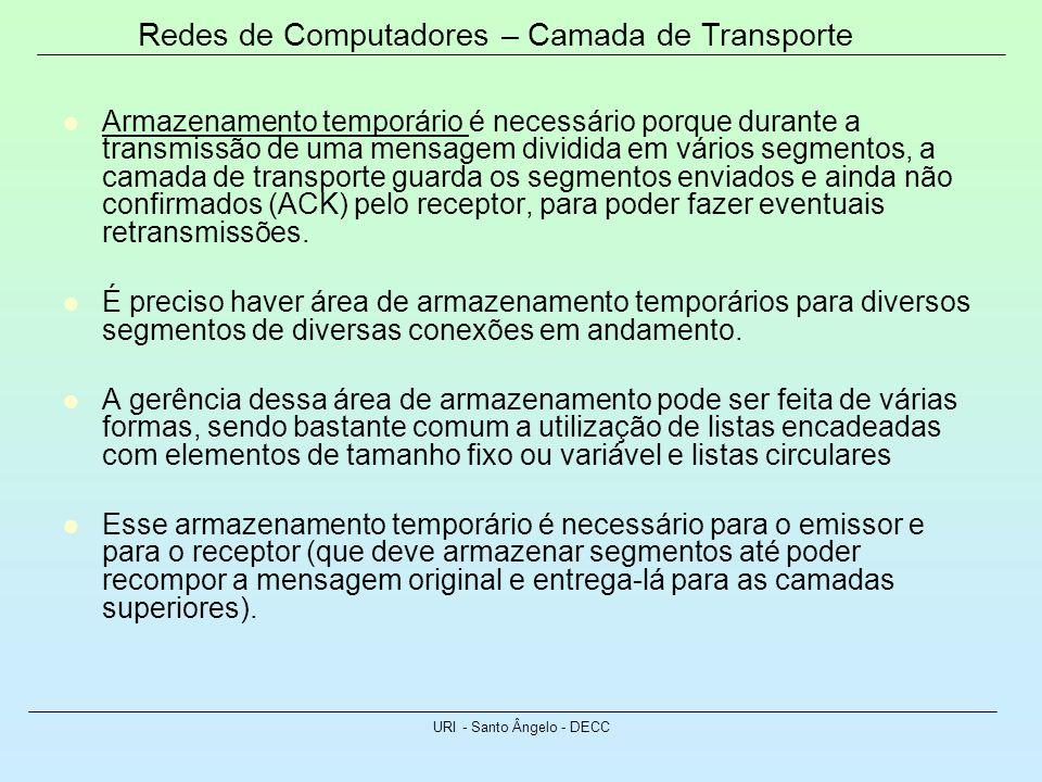 Redes de Computadores – Camada de Transporte URI - Santo Ângelo - DECC Armazenamento temporário é necessário porque durante a transmissão de uma mensa