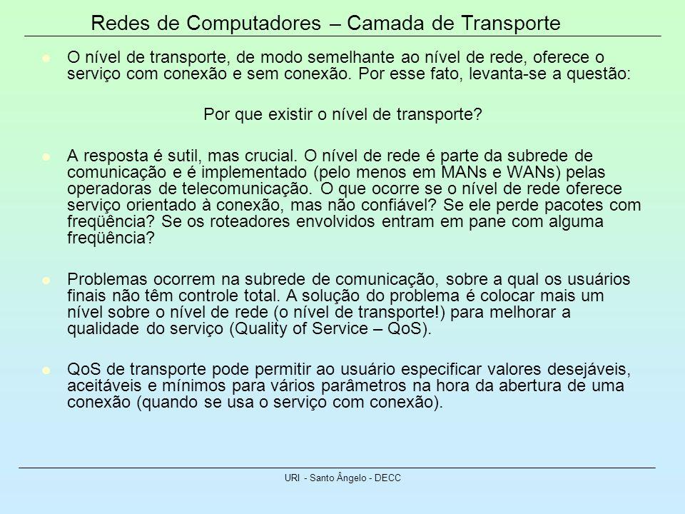 Redes de Computadores – Camada de Transporte URI - Santo Ângelo - DECC O nível de transporte, de modo semelhante ao nível de rede, oferece o serviço c
