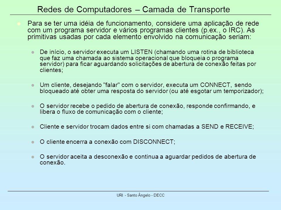 Redes de Computadores – Camada de Transporte URI - Santo Ângelo - DECC Para se ter uma idéia de funcionamento, considere uma aplicação de rede com um