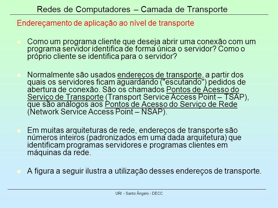Redes de Computadores – Camada de Transporte URI - Santo Ângelo - DECC Endereçamento de aplicação ao nível de transporte Como um programa cliente que