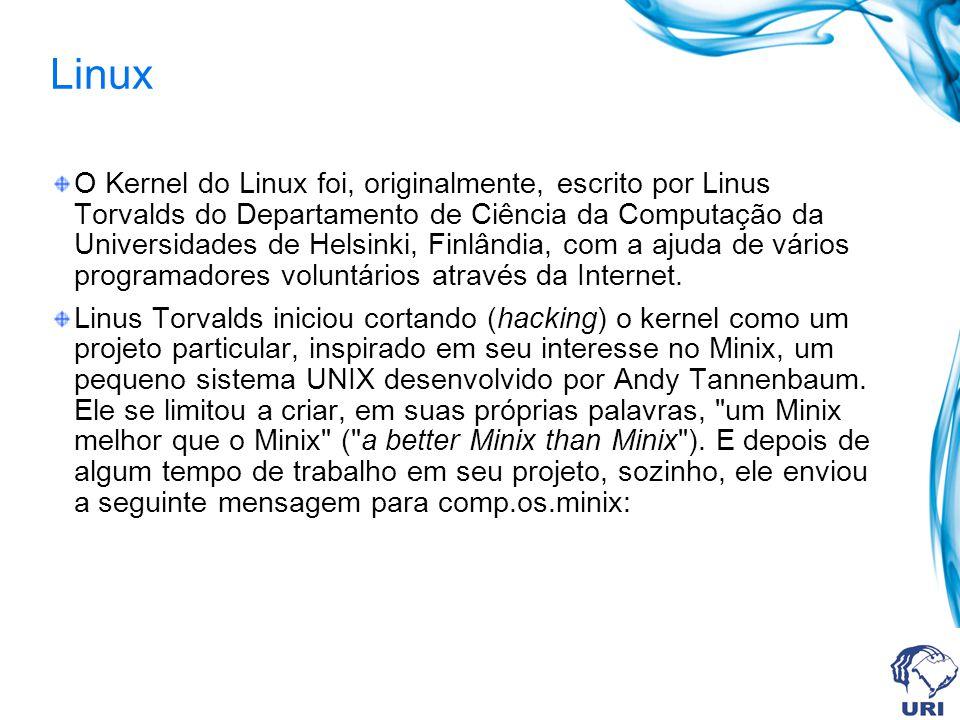 Linux O Kernel do Linux foi, originalmente, escrito por Linus Torvalds do Departamento de Ciência da Computação da Universidades de Helsinki, Finlândi