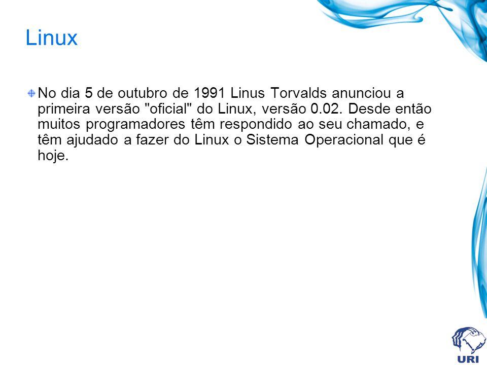 Linux No dia 5 de outubro de 1991 Linus Torvalds anunciou a primeira versão