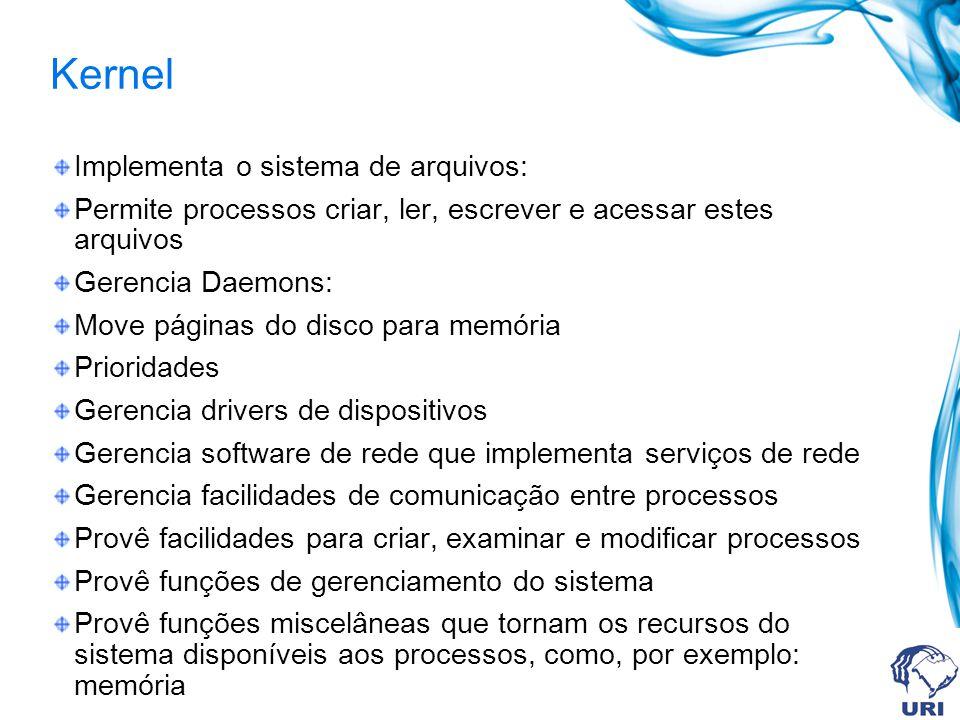 Kernel Implementa o sistema de arquivos: Permite processos criar, ler, escrever e acessar estes arquivos Gerencia Daemons: Move páginas do disco para