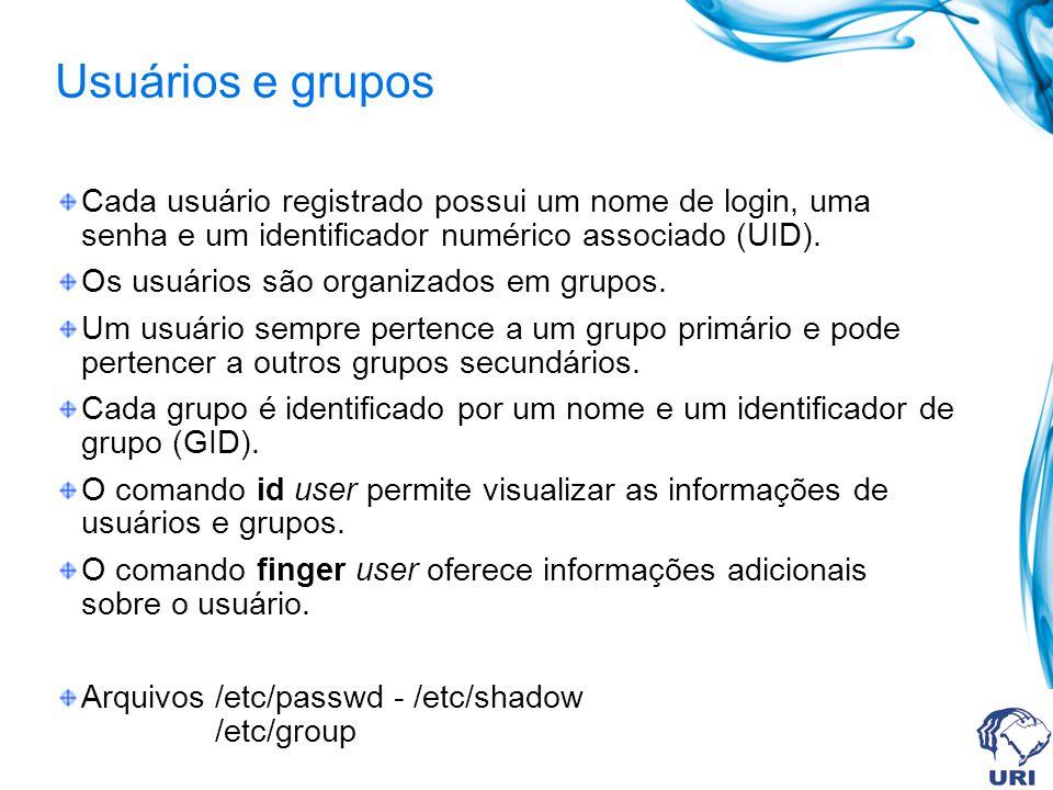 Usuários e grupos Cada usuário registrado possui um nome de login, uma senha e um identificador numérico associado (UID). Os usuários são organizados