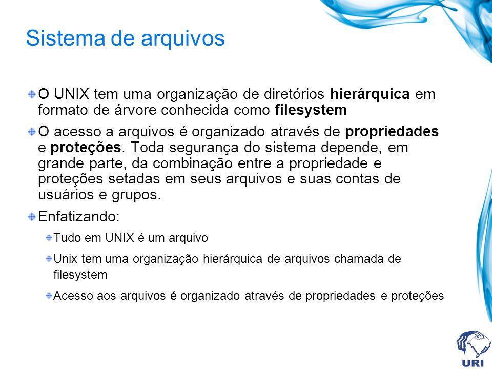 Sistema de arquivos O UNIX tem uma organização de diretórios hierárquica em formato de árvore conhecida como filesystem O acesso a arquivos é organiza