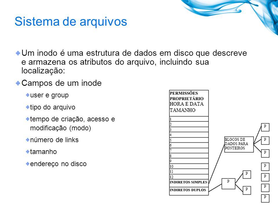 Sistema de arquivos Um inodo é uma estrutura de dados em disco que descreve e armazena os atributos do arquivo, incluindo sua localização: Campos de u