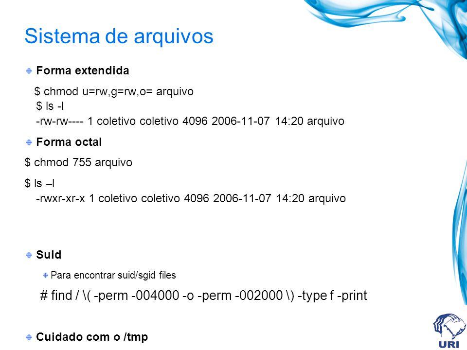 Sistema de arquivos Forma extendida $ chmod u=rw,g=rw,o= arquivo $ ls -l -rw-rw---- 1 coletivo coletivo 4096 2006-11-07 14:20 arquivo Forma octal $ ch