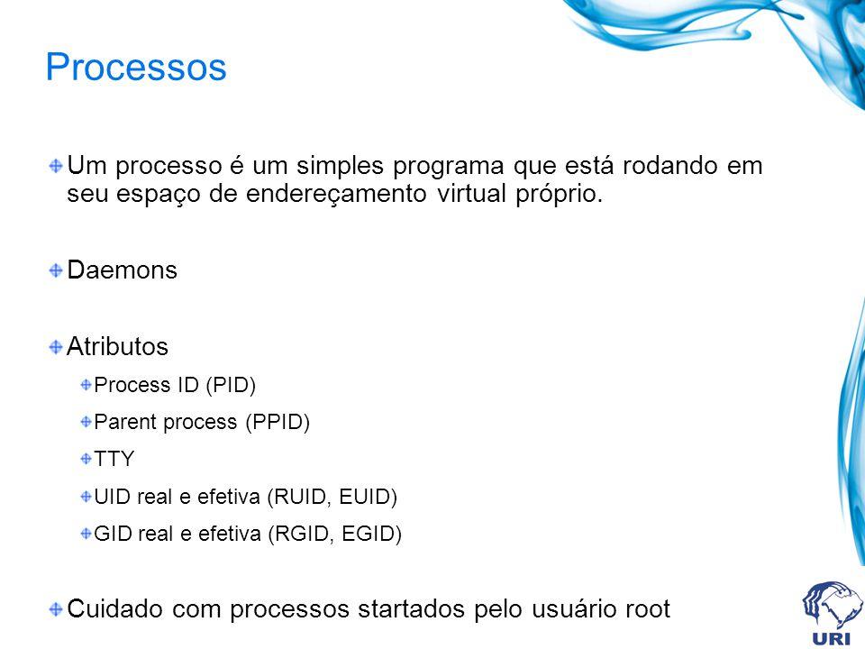 Processos Um processo é um simples programa que está rodando em seu espaço de endereçamento virtual próprio. Daemons Atributos Process ID (PID) Parent